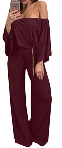 1fcfa83052 Zantt Womens Long Sleeve Strapless Wide Leg Loose Pant Sexy Bodysuit  Jumpsuit Wine Red L