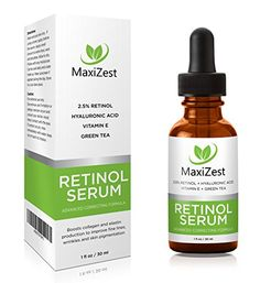 RETINOL SERUM 2.5% - With Hyaluronic Acid + Green Tea + Vitamin E + Jojoba Oil - Our #1 Best Anti Wrinkle Anti Aging Serum for Face, Eyes, Fine Lines and Under Eye Dark Circles - Unclogs Pores, Evens Skin Tone, Improves Skin Color - 1oz (30ml)