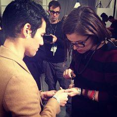 Mr. Altuzzara himself receiving a manicure backstage