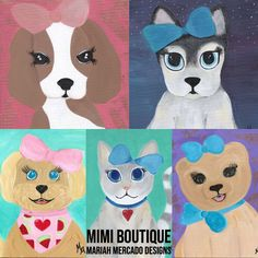 Mimi Boutique, Portrait Acrylic, Baby Portraits, Canvas Board, Gifts For Pet Lovers, Disney Style, Animal Paintings, Cartoon Styles, Fur Babies