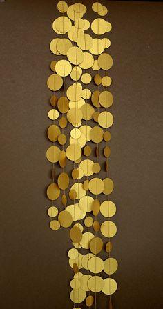 Wedding garland Gold paper garland Gold by TransparentEsDecor