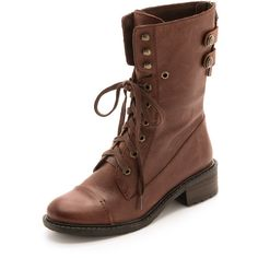 A burnished cap toe lends the look of casual wear to military inspired Sam Edelman boots. Button straps accent the exposed back zip. Lace up closure. Chunky he…
