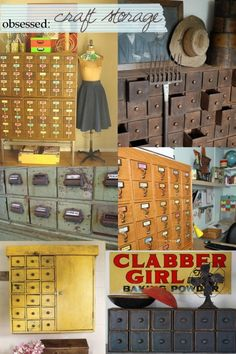 Love the vintage vibe for craft storage