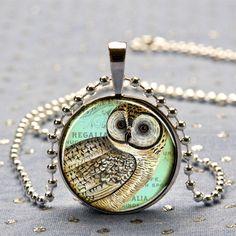 Vintage Owl Art Picture Pendant
