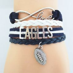 Infinity Love Eagles Football - Show off your teams colors! Cutest Love Eagles Bracelet on the Planet! Don't miss our Special Sales Event. Many teams available. www.DilyDalee.co