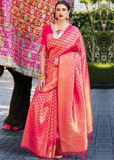 #red #woven #kanjivaram #silk #saree #blouse #attractive #design #sareelove #new #arrivals #beautiful #indianwear #ootd #traditional #womenswear #online #shopping Kanjivaram Sarees Silk, Art Silk Sarees, Handloom Weaving, Ethnic Wear Designer, Pink Saree, Printed Sarees, Beautiful Saree, Pink Silk, Saree Collection
