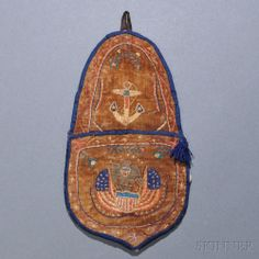 Naval Needlework Wallpocket, America, 19th century, small oblong pocket stitched with silk threads on velvet with blue silk edging