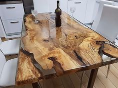 Unique 6 person epoxy resin table