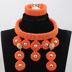 Luxury Coral Beads Jewelry Sets Exclusive African Nigerian Wedding Bridal Jewelry New Women Bridal Statement Necklace Set Engagement Jewelry, Wedding Engagement, Bridal Jewelry, Beaded Jewelry, Nigerian Beads, Fashion Beads, African Beads, Accessories Store, Wedding Coral