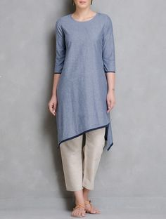 The Wooden Closet - Kurta with Asymmetrical hem. Binding on hem and  sleeves.