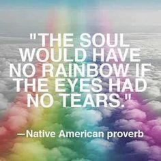 "Native American Proverb.. ""The soul would have no rainbows if the eyes had no tears."""