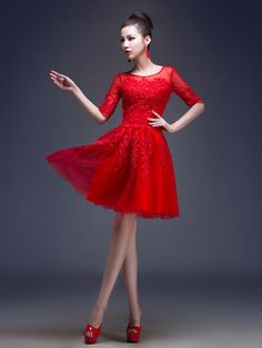 Cocktail Party Dress A-line / Princess Jewel Knee-length Tulle with Appliques / Beading / Sequins - USD $69.99