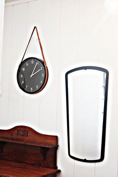 DIY Ikea Clock With Leather Belt Hanger