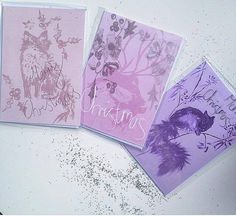Set of 3 illustrated CHRISTMAS Cards Blank inside by BlossomAndIvy