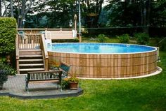 above ground pools wood - Google Search