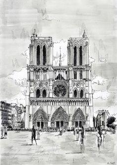 Watercolor and black ink/ Aquarelle et encre de Chine – Notre-Dame - Nicolas Jolly