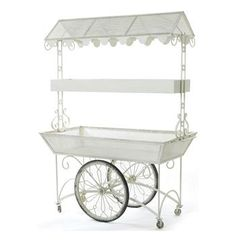 French Cottage Shabby Chic White Garden Flower Cart