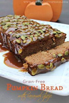 Grain Free Pumpkin Bread with Caramel Glaze - no refined sugar! Gluten Free, Paleo
