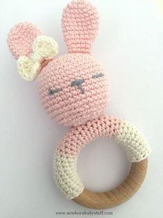 Crochet Baby Booties Rattle Rabbit
