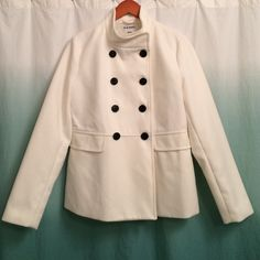 NWT-Women's, size M, ivory button up jacket NWT-Brand new, never worn, women's, size M, Old Navy brand, ivory button up jacket with black button detail. Faux pockets in front. Very stylish and professional. Old Navy Jackets & Coats