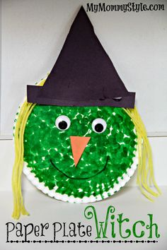 Paper plate witch project for kids