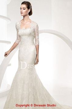 Strapless Lace Mermaid Wedding Dress with A 3/4 Sleeves Illusion Bolero