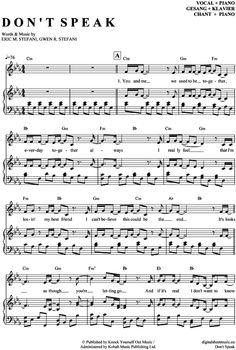 Don´t speak (Klavier + Gesang) No Doubt [PDF Noten] >>> KLICK auf die Noten um Reinzuhören <<< Noten und Playback zum Download für verschiedene Instrumente bei notendownload Blockflöte, Querflöte, Gesang, Keyboard, Klavier, Klarinette, Saxophon, Trompete, Posaune, Violine, Violoncello, E-Bass, und andere ...