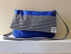KG // Bright Blue and Black and White Stripe by KatieGariepy