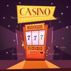 Casino Retro Cartoon Illustration - Decorative Symbols Decorative