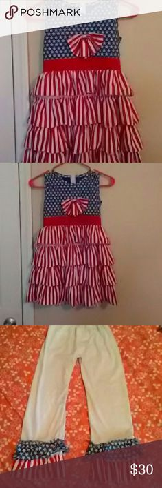 2 piece American flag outfit Dress and pants wear together or separate  size is  2xl 5/6 Matching Sets