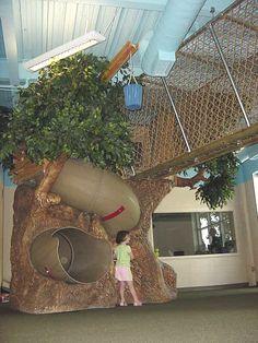 Indoor Playground Tree, Slide and Bridge from DunRite Playgrounds http://www.dunriteplaygrounds.com/store