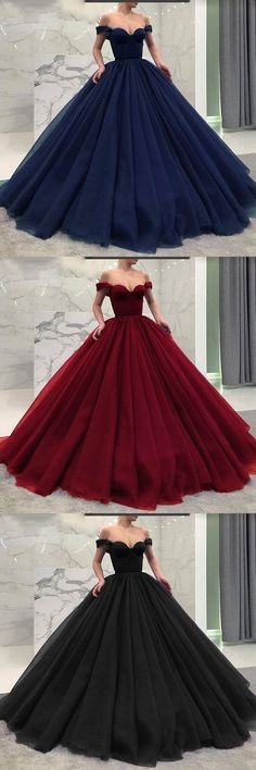 Fashionable Burgundy/Navy Blue or Black Off the Shoulder Poofy Long Ball Gown 0892 by RosyProm, $173.99 USD
