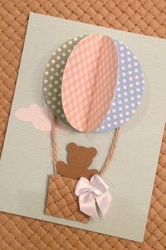Convite personalizado com tema de balões para chá de bebê - www.clakeka.blogspot.com