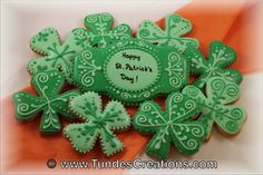St. Patrick's Day cookies, custom made, hand decorated green shamrock cookies, one dozen