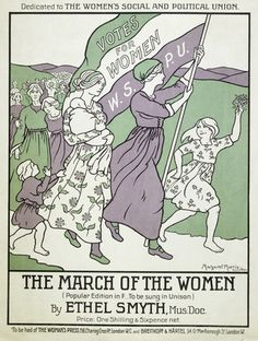 Music score and words for 'The March of the Women' dedicated to the Women's Social and Political Union. Composed by Ethel Smyth in 1911. Printed on one side of a vocal card sold for 1d by The Woman's Press. On the reverse of the sheet are printed advertisements for other vocal cards.