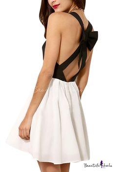 Color Block Cross Back Bow Embellished Mini Dress 413b99326a90