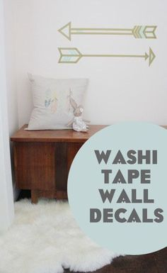 Washi Tape Wall Decals - easy on, easy off! Great for a bland dorm room or any room! Washi tape is inexpensive & versatile. Tape Wall Art, Washi Tape Wall, Washi Tape Crafts, Tape Art, Diy Wall Art, Diy Wand, Room Decor For Teen Girls, Kids Room, Deco Originale