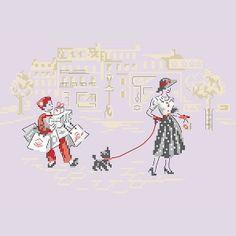 Grille «La dame au petit chien» Les Brodeuses Parisiennes