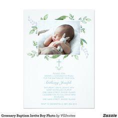 Greenery Baptism Invite Boy Photo