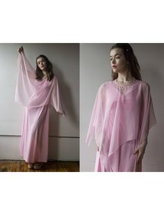 a05fa595e045 Vintage 1970s Bubblegum Pink Maxi Dress with Sheer Beaded Capelet - Size  M L by