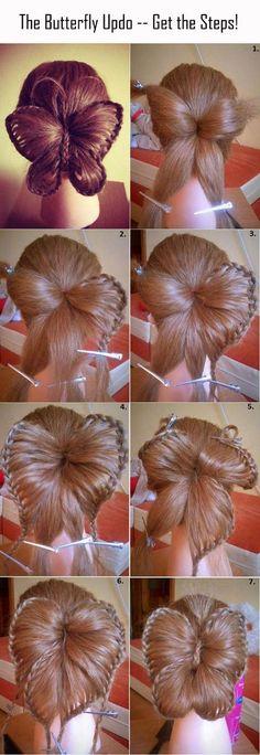 Haare - Frisuren für lange Haare - Haare flechten, Butterfly hairstyle, Schmetterling