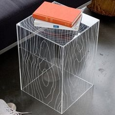 "plexiglass box tables | simple acrylic box ""table"" with etching"