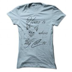 Home is where my Cat is S T Shirts, Hoodies. Check price ==► https://www.sunfrog.com/Pets/Home-is-where-my-Cat-is_S-Ladies.html?41382