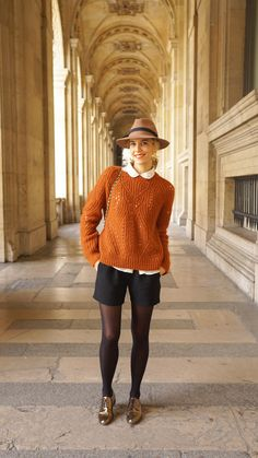 LOVE this whole outfit for some reason - super fun and still made of things you can mix & match. Maybe should get a rust colored sweater & some shiny oxfords to give it a try?