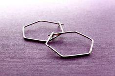 Hexagon Hoop earrings . Argentium silver . Medium 1.25 Inches . Simple Classy Modern. $20.00, via Etsy.