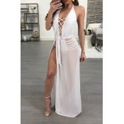 Lovely Sexy V Neck See-Through Lace-up Side Slit W