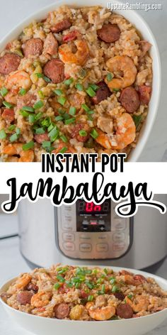This Instant Pot Jambalaya recipe is a Cajun inspired one dish recipe with shrimp, andouille sausage, chicken and rice that will make a spicy dinner. Using a pressure cooker makes it a quick and easy weeknight dinner! Using A Pressure Cooker, Instant Pot Pressure Cooker, Pressure Cooker Recipes, Jambalaya Recipe Instant Pot, Instant Pot Dinner Recipes, Rice Cooker Jambalaya Recipe, Instant Recipes, Cajun Dishes, Food Recipes