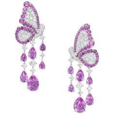 Dancing Butterfly Earrings In Pink Sapphires And Diamonds Pink Sapphire Earrings, Sapphire Jewelry, Diamond Jewelry, Diamond Earrings, Sapphire Diamond, Saphir Rose, Jewelry Accessories, Jewelry Design, Butterfly Earrings