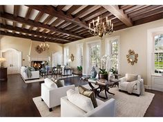 Spanish Style Homes Interior Living Rooms Exposed Beams Features 134 - onlyhomely Style At Home, Cape Dutch, Dutch House, Spanish Style Homes, Spanish Revival, Home Staging, Living Spaces, Living Rooms, Living Area