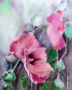 Hollyhocks, watercolor, 25x35 cm, see www. haiverstappen.nl